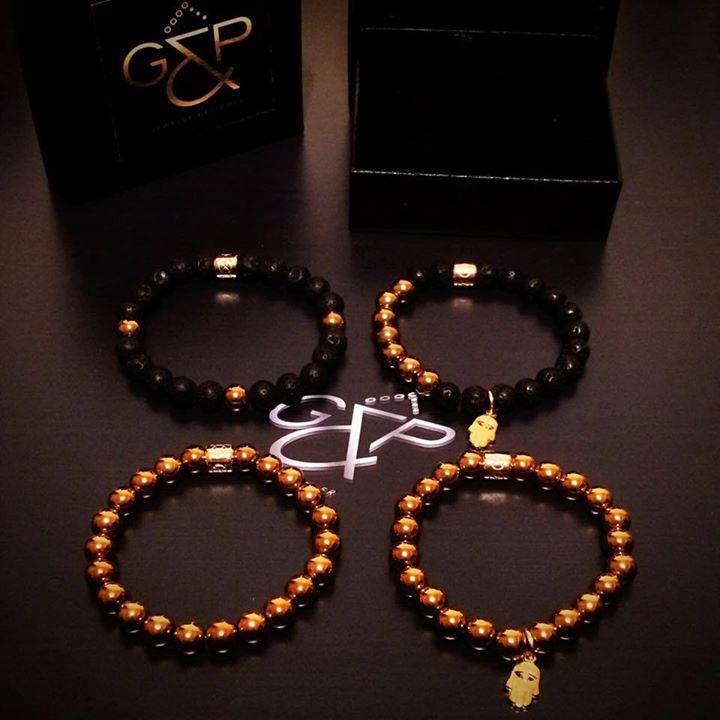 New Bracelet Set Gold Hematite Stones  Hamsa Hand